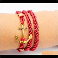 Charm Jewelry Drop Lieferung 2021 Windanker Altes Armband Tom Hope Gold-geplant Wund Multilayer gewebtleder Armbänder PS0498 DUTVX