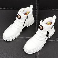 الرجال الأزياء عارضة أحذية الكاحل أحذية الربيع الخريف الشرير نمط المسامير الاتجاه الذكور الجلود عالية أعلى الهيب هوب حذاء
