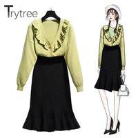 Два куска платье Trytree 2021 осень зима набор повседневная V-образным вырезом Одиночный погружной верх + юбка оборками эластичная талия Офис Lady 2