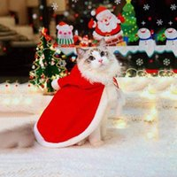 Cat Costumes S M LCute Winter Pet Dog Clothes Warm Puppy Santa Red Scarf Hat Head Funny Christmas Costume Cloak Decor