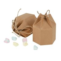 Regalo Wrap 10 unids creativo Kraft Papel Cajas de caramelo Linterna HEXAGON Forma Favorita Favores de la boda Pastel Packaging Dragas Bolsa de caja