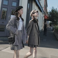 Two Piece Dress Spring and Autumn Korean style plaid suit jacket female college net red fashion pleated skirt women RX57