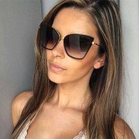 Роскошный дизайнер Солнцезащитные очки 2021 Бренд Дизайнер Cateye Женщины Винтажные Металлические Очки для Зеркала Ретро Лунит-де-Солей Femme UV400