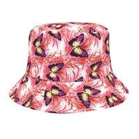 Wide Brim Hats Summer Sun For Women Adult Butterfly Prints Beach Sunshade Hat Fisherman's Basin Outdoor Bucket Casquette Femme