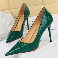 Dress Shoes 2021 Sexy Women Green 9.5cm High Heels Pumps Designer Patent Leather Stiletto Scarpins Wedding Bridal Prom Plus Size