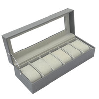 Watch Boxes & Cases 6 Slots PU Leather Display Case, Glass Topped Case Jewelry Organizer