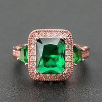 Gül Altın Ton Yeşil Kristal Zümrüt Gemstones Diamonds Yüzükler Kadınlar Için Prenses Lüks Takı Bijoux Bague Parti Hediye Boy6-10
