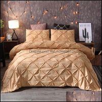 Sets Supplies Textiles Home & Gardenluxury Black Duvet Pinch Pleat Brief Bedding Queen King Size 3Pcs Bed Linen Comforter Er Set With Pillow