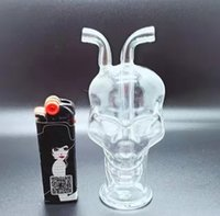 Skull Glass Oil Burner Pipes Smoking about 4 inches Hand spoon Tobacco Dry Herb pipe For Bubbler