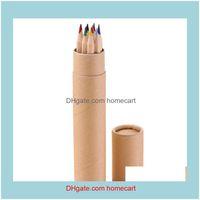 Kalemler Yazma Malzemeleri Ofis İşletmeleri Endüstriyel17.5 cm Uzun Boyama Altıgen Kalem 12 Renkler Set Mix Doğal Ahşap İlkokul Okulu