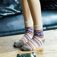 Mulher linha meias Quente confortável meninas mais espessas tubo tubo mulher mulher inverno lã retro sokken calcetines l6dq #