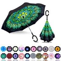 Ters Ciddi Şemsiye C Şekli Rüzgar Geçirmez Ters Şemsiye Kadınlar Ve Erkekler Için UV Koruma Araba Yağmurlar Ile Açık Kullanımı 10 adet Ücretsiz DHL Gemi HH7-1950