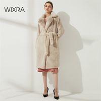 Wixra Ladies Faux Leather Long Coats Femme Pockets Soft Mink Fur Women Trendy Street Style Loose Short Outwear Winter 210913