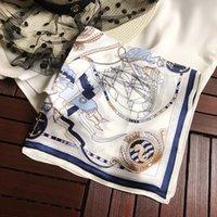軽量シルクスカーフ女性のボートプリントスカーフレトロなスタイルショールスクエアネクタイスカーフ春夏のスカーフ50 * 50cm
