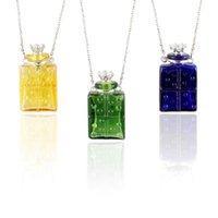 Collares colgantes 1pc Murano Glass PERFUME PERFUME Collar Colorido Botellas de vino Aroma Frasco Joyería Difusor de aceite esencial