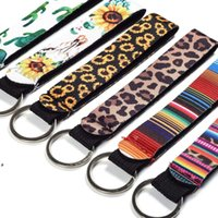 Neoprene wristlet keychain printed wrist key belt sunflower strip leopard lanyard key ring long diving material keychains NHE6612