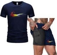Pantaloncini di moda Set da uomo Tracksuit Summer Stampa Vestito 2 pezzi Fitness Sportswear + Beach Mens Casual T-shirt maschile Plus Size S-2XL