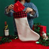 Sublimação Christmas Branco Branco Meias Calor Transferência de Calor Santa Claus Saco De Presente Manta Presente Meia Presente Doces Saco De Natal Pingente de Árvore A12