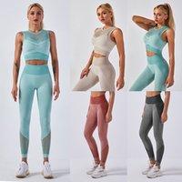 Shark Shark Shark Shark Tricoté Souffenu Yoga Hollow Out Vest Fitness Pants