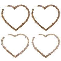 Hoop & Huggie 2021 Big Heart Crystal Earrings For Women Bijoux Geometric Rhinestones Statement Jewelry Party Gifts