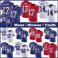 "17 Josh Allen 14 Stefon Diggs 11 Cole Beasley Buffalo ""Bass Gregory Rousseau 49 Tremaine Edmunds Tre'Davious White Bills"" Dion Dawkins Jim Kelly Football Jerseys"