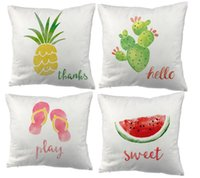 Watercolor Slippers Pineapple Watermelon Cacti Printed Cushion Cover Party Supplies Decoration Throw Pillow Case For Home Cushion Decorative