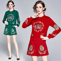 Women's Two Piece Pants Autumn and Winter Lady's Wear Sets Crew Neck Long Sleeve Embroidery Hooded Top with Shorts 2 Pieces Set