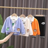 Baby Clothing Sets Boys Suits Kids Clothes Cotton Casual Childrens Wear Long Sleeve Knitted Jacket Cardigan Shirts Coat Trousers Pants Cartoon Autumn 3Pcs B7262