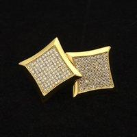 Men's Hip Hop Micro Inlaid Zircons Big Ear Nail Hip-hop Square Ear Studs Rock Jewelry New