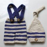 Baby Photo Costume Одежда Новорожденные Девушки Мальчики Фотографии при врюке вязания вязания вязаный нагрудник брюки + шапка 2 шт. Устанавливает полосатые наряды 1179 y2