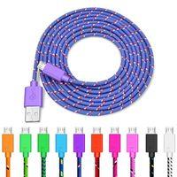 1 متر / 2 متر الكابلات تهمة الهاتف النايلون مزين أندرويد USB مايكرو مزامنة مزامنة كابل شاحن