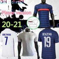 Versión del jugador FRANCIA 2021 2022 Griezmann Benzema Mbappe Maillot de Face Francia Fútbol Jersey Kante Pogba Fekir Pavard Football Shirt 20 21 Zidane
