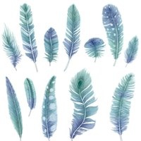 Wall Stickers Blue Feathers Sticker Bedside Decoration Living Room Background Decor Home Self-Adhesive