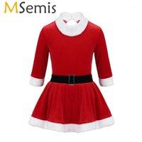MSEMIS Çocuk Toddler Kızlar Noel Giysileri Şekil Buz Pateni Elbise Uzun Kollu Bale Leotard Mrs Claus Santa Dans Kostüm1