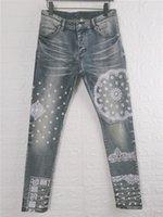 도착 Mens Jeans Luxurys 디자이너 슬림 - 다리 진 Pattren 캐주얼 남성 바지 고품질 높은 거리 바이커 Luxyrys Denim Pass 크기 W29-W40