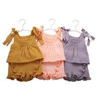 Baby Kläder Tjejer Ärmlös Sling Vest Toppar + Shorts 2st Set Ruffle Barn Outfits Boutique Kids kläder 3 färger BT6535