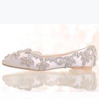 2019 белый сатин алмаз свадебные ботинки плоские каблуки женщины горный хрусталь невеста туфли ручной работы мода формальные одежды обувь