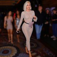 Sparkly Sheer Geometric Bodysuit Womens Jumpsuits Khloe Kardashian Inspired See Through Waist Cutout Eyelet Skin Tight Mesh Full Fishnet