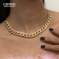 Chains JShine Punk Hip Hop Iced Out Rapper Crystal Necklace Cuban Link Chain Choker Fashion Bling Mix Rhinestone Women Jewelry