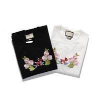 2021 Mode neue Trend Herren T-shirts Reine Baumwollstickerei mit Briefmuster drucken den klassischen kurzärmligen oberen dünnen atmungsaktiv