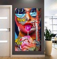 Graffiti donna ritratto olio poster e stampe per soggiorno tela pittura wall art picture home decor