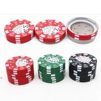 Kunststoff 40mm Kräutermühle Kreativität Poker Chip Stil Haushalt Rauchen Zubehör 3 Schichten Aluminiumlegierung Tabakmühlen DWA7307