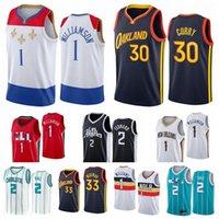 Draft Pick 2 Lamelo Ball Basketball Jersey 30 Curry 33 Williamson Jerseys Mens City 2021/22 Edição Branco Preto Vermelho