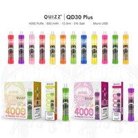 12 Colors Vapmod QUIZZ QD30 Plus Disposable E-cigarettes Vape Pen Kit XL Flow 4000puffs 12ml Capacity Battery Mesh Coil Vaporizer