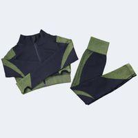 Gestaltung von Leggings Fitnessanzug Yoga Frauen Outfits 3 stücke Sets Langarmhemd + Sport BH + Nahtlose Workout Laufende Kleidung Fitnessstudio Tragen, LF051 03
