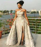 Aso Ebi Style Mermaid Prom Party Dresses Overskirt Train 2021 One Shoulder Silver Lace Plus Size Formal Evening Occasion Gowns Vestidos De Noiva