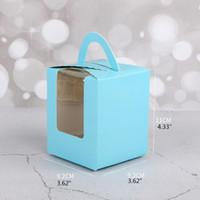 60 unids Solter Cupcake Portadores a granel Color sólido Contenedores individuales Titulares de cajas con ventana e inserciones envoltura de regalo