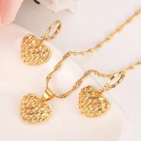 Earrings & Necklace Dubai India Ethiopian Gold Love Heart Set Jewelrysets For Women Pendant Chain African Bride Wedding Bijoux Girls Gift