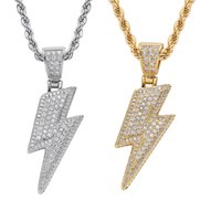 18k gold flash lightning Necklace jewelry set Diamond Cubic zirconia pendant hip hop necklaces Bling jewelry for women men stainless steel chain will and sandy