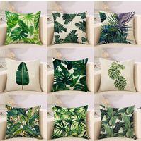 Tropische Pflanzen Kaktus Monstera Sommer Dekorative Wurfkissen Baumwolle Leinen Kissenbezug Palm Leaf Green Home Decor Kissenbezug DWB5947